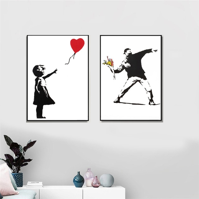 Banksy Graffiti Artwork Canvas Painting Girl With Red Balloon Poster Black White Abstract Wall Pictures for Nordic Home Decor 2