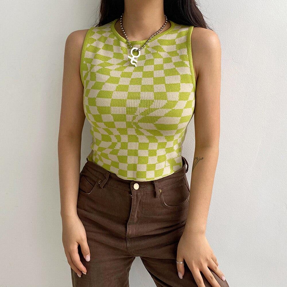2021 Plaid Printed Y2K Knitted Women's Tank Tops Summer Harajuku Vintage Crop Tee Streetwear Aesthetic Cute Shirts Cuteandpsycho