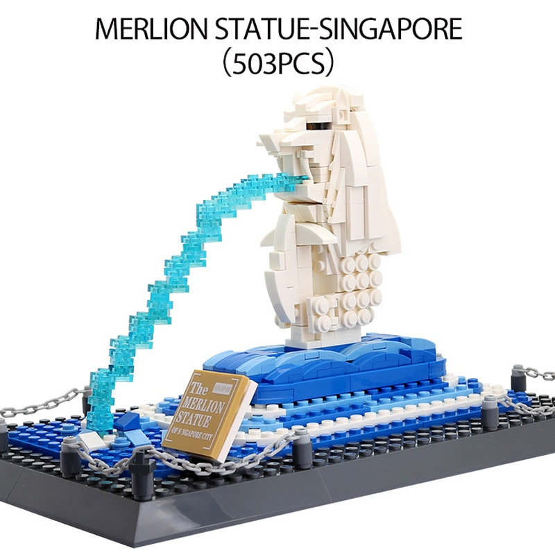 Arquitectura Moderna de fama mundial Singapur Fuente Merlion montaje de bloques de construcción juguetes de bloques de modelismo colección para regalos