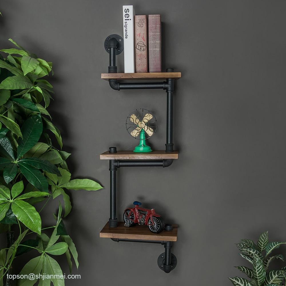 Repisas de hierro Industrial KINMADE de 3 niveles para tuberías montadas en la pared, repisa de madera sólida Retro, estantería para sala de estar, sala de estudio, estantería de cocina