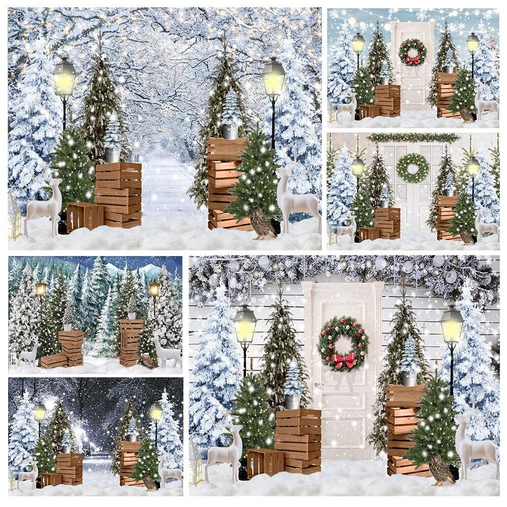 Зимние украшения страны чудес фон Рождественская елка огни венки белые деревянные двери Праздник Вечеринка ребенок студийный фото фон