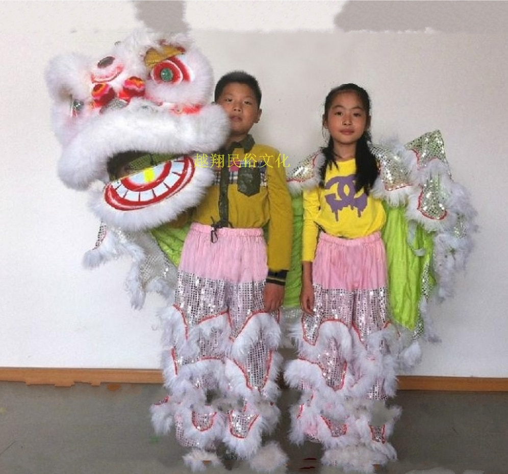 Sliver Lion Dance Costume  2 Player 8-12 Age Children Play Party Performance Sport Outdoor Parade Folk Parad Stage Mascot China