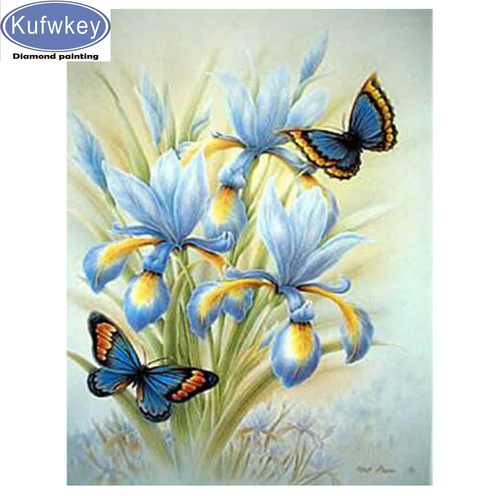 Azul iris mosaico de diamantes con forma de flores completo cuadrado redondo taladro 3d Cruz stitch diamante pintura venta 5d diamante bordado venta,