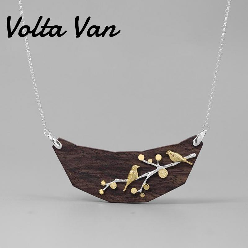 فولتا فان-قلادة مصنوعة من الفضة الإسترليني عيار 925 ، قلادة أنيقة ، خشب الصندل ، فروع الطيور ، مجوهرات عتيقة ، قلادة فضية ، مجموعة جديدة 2021