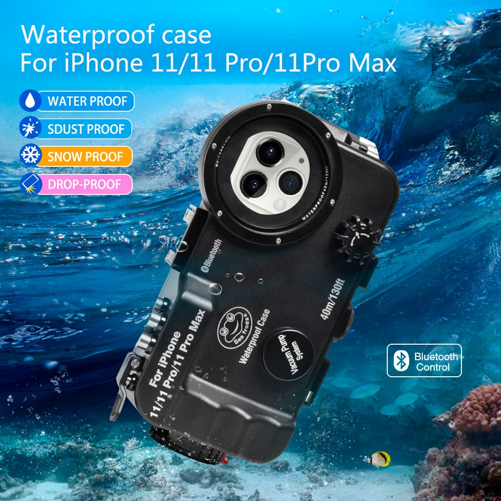 For iPhone 11/11Pro/11Pro Max Bluetooth Control Waterproof Phone Case Underwater 40/130fit Professional Diving Phone Box
