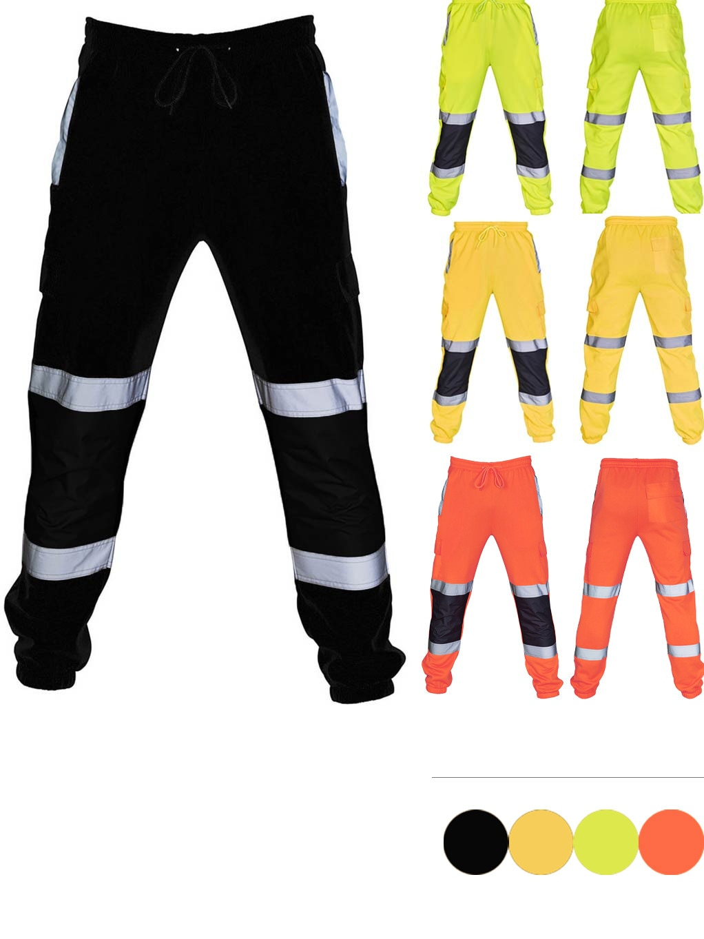 Mens Pants Road High Visibility Overalls Trousers Summer Casual Bright Color Double Horizontal Bar Pocket Work Cargo Long Pants