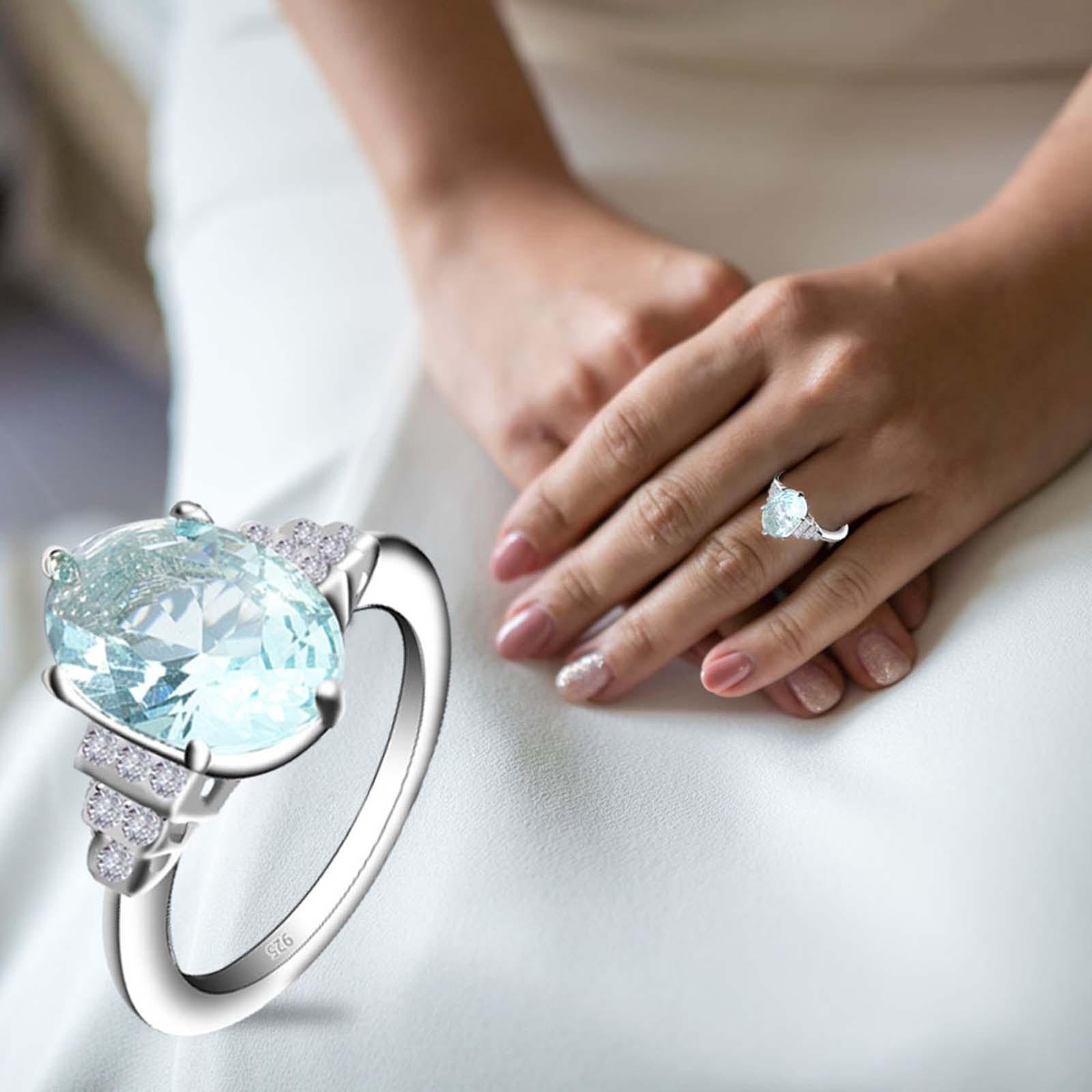 2021 las nuevas mujeres de lujo mar azul anillo de moda de...