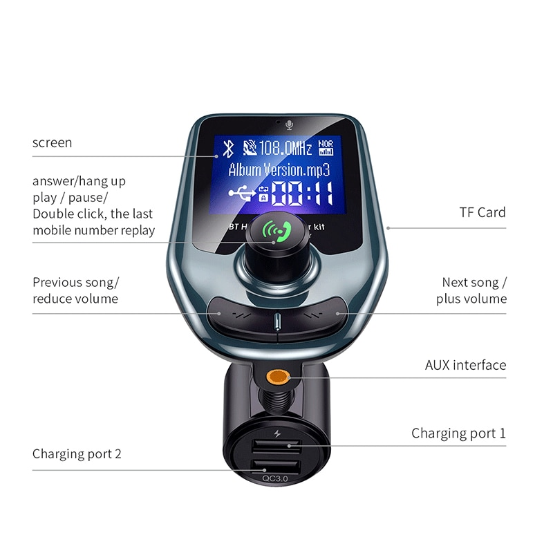 Car Charger USB Car Lighter socket Adapter Chargers Wireless In-Car Bluetooth FM Transmitter MP3 Radio Adapter Car Kit Dual USB