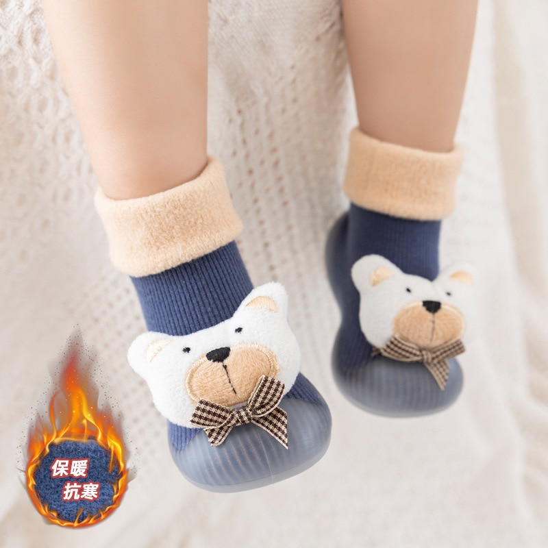 Baby Sock Shoes for Winter Thick Cotton Animal Styles Cute Baby Floor Shoes Anti-slip First Walkers 0-3 Years