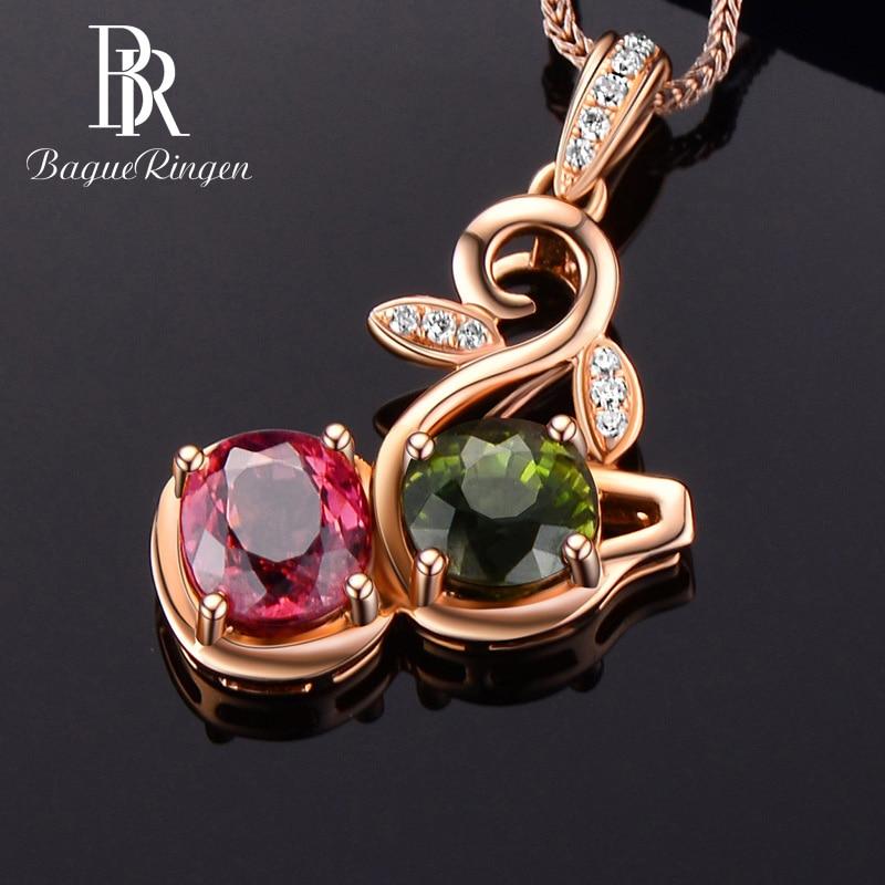 Bague ringen novo estilo feminino prata 925 colar de jóias rosa ouro cor turmalina pingente clavícula corrente casamentos presente