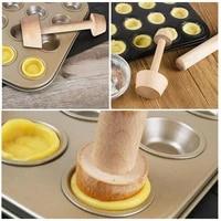 wooden egg tart tamper portable double side pastry mold baking tools egg eggtart tart cake kitchen pusher p0g1