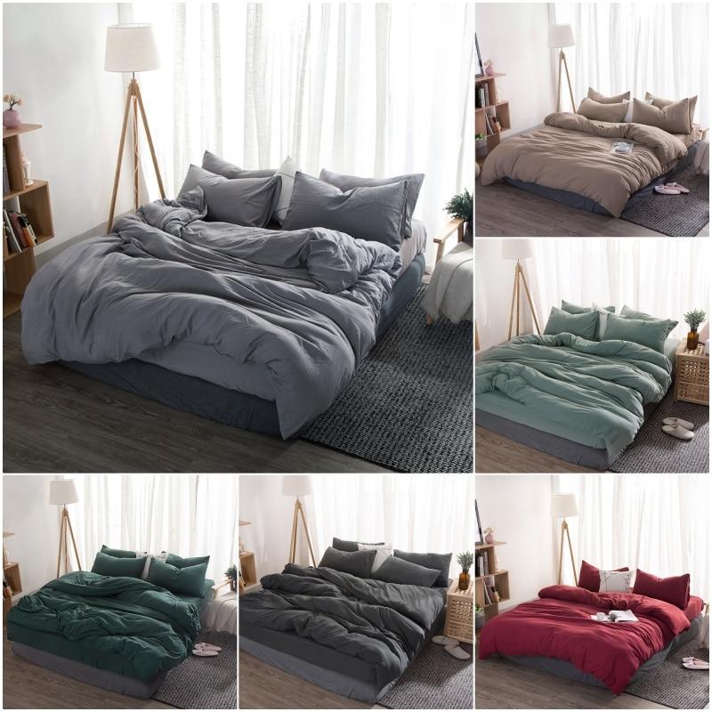 New Product Solid Color 3/4 Pcs Bedding Set Microfiber Bedclothes Navy Blue Gray Bed Linens Duvet Cover Set Bed Sheet