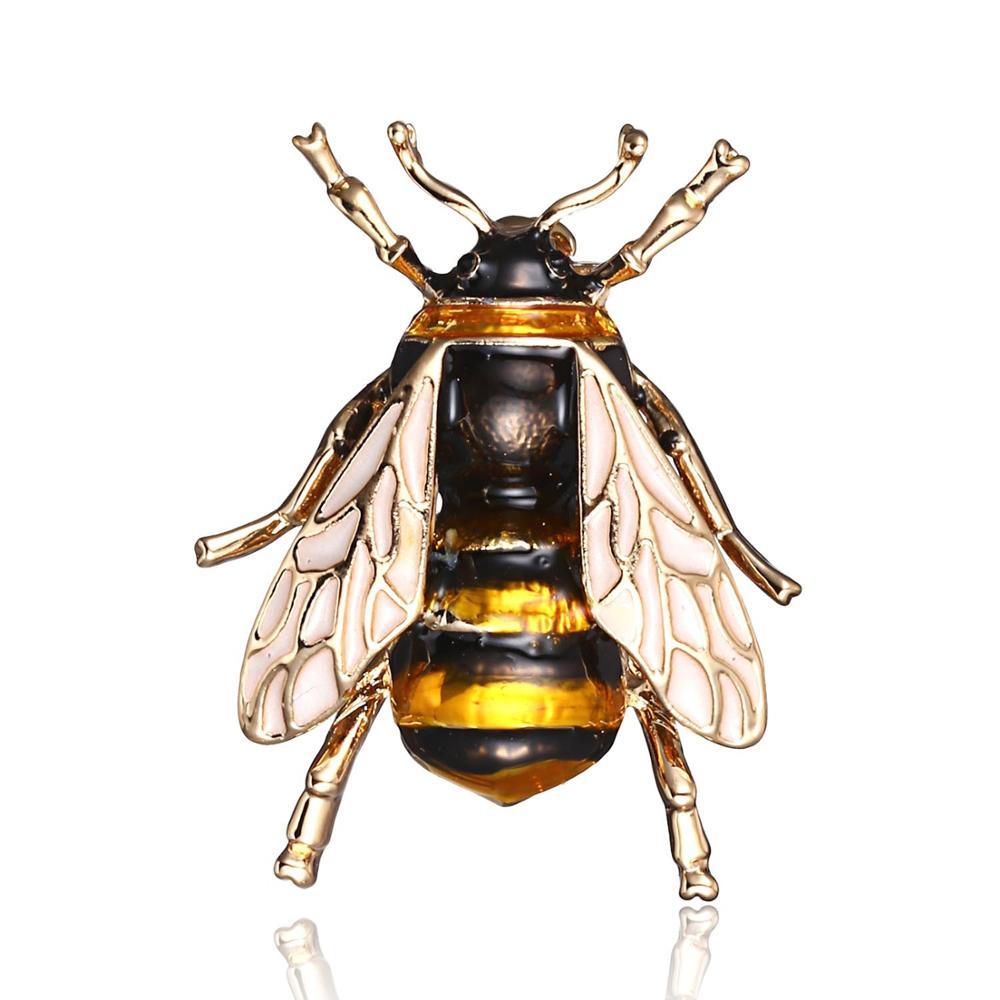Broche de abeja esmaltado realista Metal Honeybee insecto mujer ropa de moda joyería accesorio de ropa