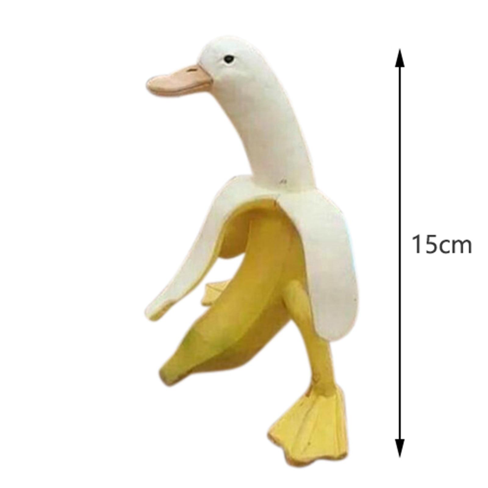 Weird Resin Hybrid Banana Duck Statue Garden lawn ornament Freaky Fruit Duck Non Rubbish Banana Sitter Sculpture