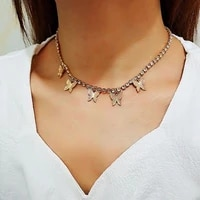 fashion female jewelry five butterfly pendant necklace shiny personality crystal pendant necklace necklace gift essential