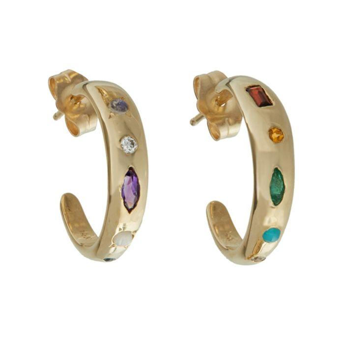 Cor de ouro verde baguette cz hoop brinco grande círculo redondo hoop moda feminina jóias