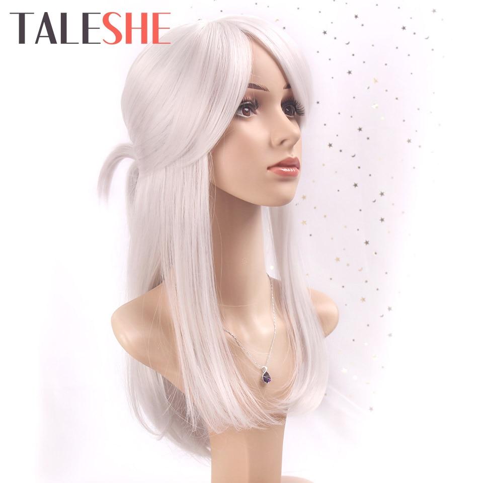 Taleshe prateado branco cosplay ciri dos jogos de witcher longa reta fantasia perucas peruca de cabelo sintético para mulher cinza com bun
