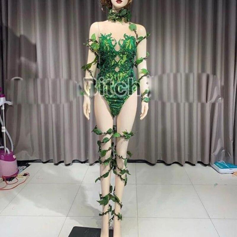 Femmes scène spectacle combinaison personnalisé vert Jungle fête costume danse équipe body sexy fille vêtements