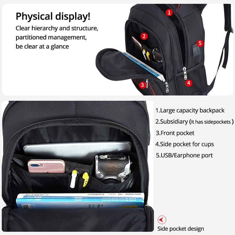 Vodootporni čvrsti veliki ruksak za muškarce torbe za laptop crni - Ruksaci - Foto 3