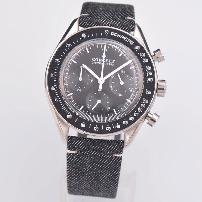 Todos à Prova Relógios de Pulso Quartzo dos Homens Corgeut Marca Superior Esportes Luminosos Multifuncional 24 Horas Dwaterproof Água 316 ss Couro 40mm