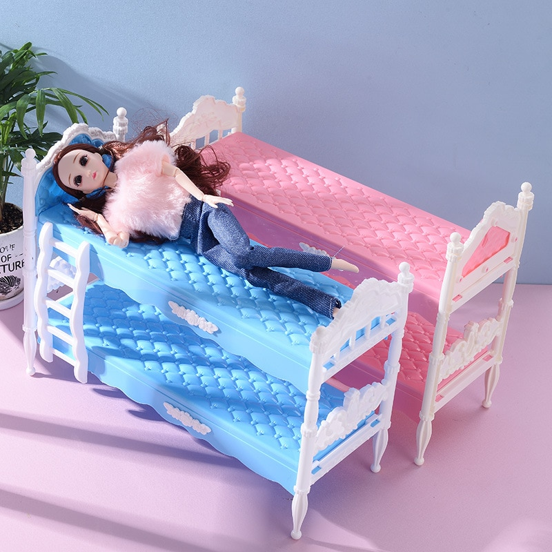 New Fashion Doll Double Bed Cute Children's Toy Accessories Best Gift for 30cm Barbies Plastic Gadge