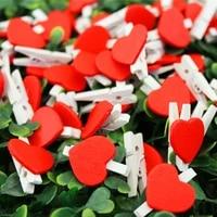 50pcslot mini romantic loving heart shape wood clips handicrafts photos papers clothes pegs home bachelorette party decorations