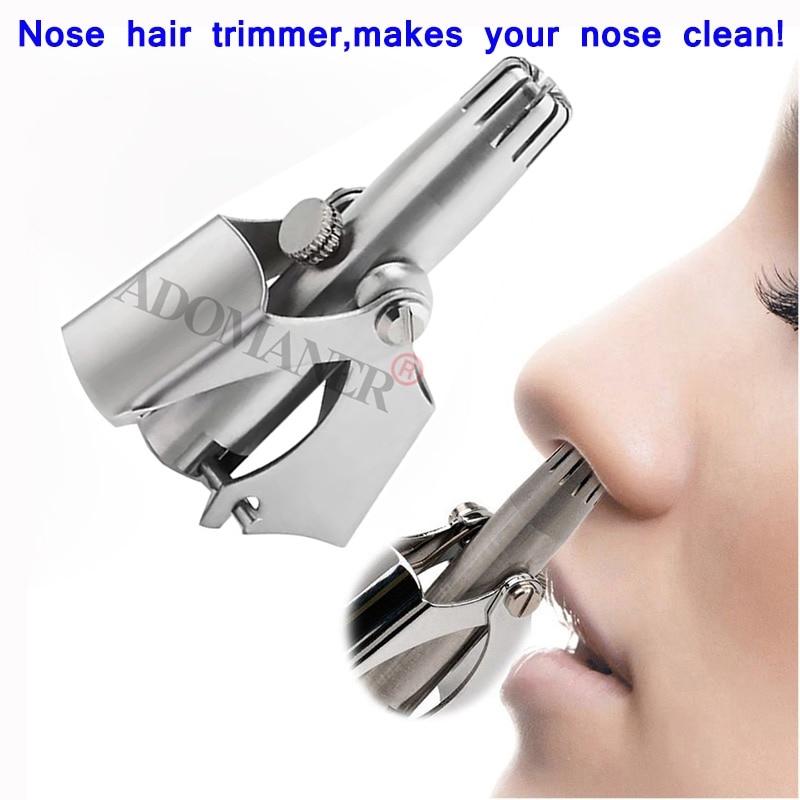 Adomaner Nose Hair Trimmer Ear Portable Vibrissa Razor Manual Rhinothrix Cutter Nariz Nasal Shaver W