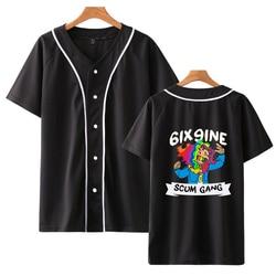 Hip hop impressão rapper tekashi69 6ix9ine tekashi 69 camisetas de beisebol tshirt verão engraçado harajuku manga curta streetwear