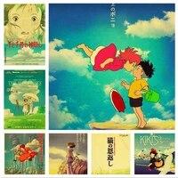WTQ     affiches de dessin anime retro Hayao Miyazaki  peinture sur toile  decor mural  image dart mural pour decoration de salon  decoration de maison