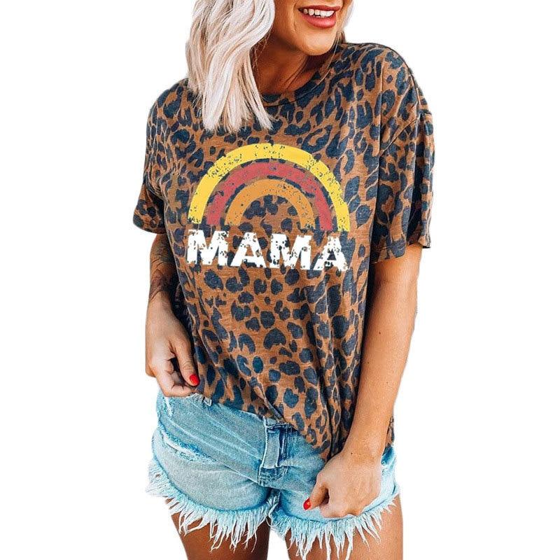 Woman Tshirts Rainbow Leopard Mama Graphic Tees Summer 2021 Letter Aesthetic Plus Fashion Tshirt Vintage Streetwear