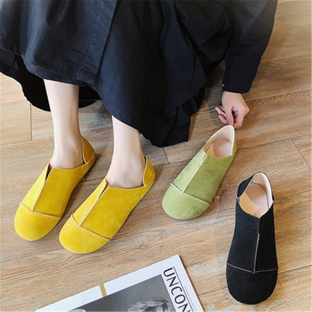 2021 Spring Autumn New Ladies Flat Shoes Fashion Loafers Female Lazy Round Toe Comfortable Lightweight Womens Black
