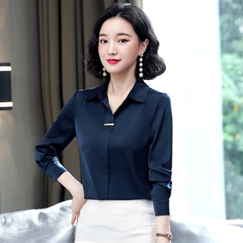 2021 spring fashion silk pure color mulberry silk shirt female long-sleeved shirt Female traf za kimono femme Chemise en soie