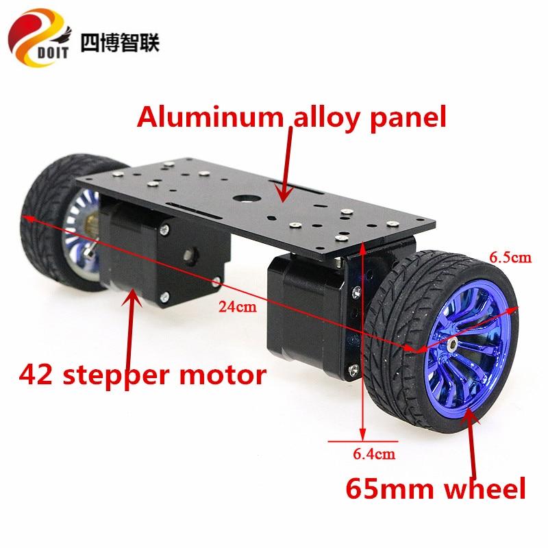 SZDOIT 2WD المعادن التوازن هيكل السيارة الذكية 2-عجلة سبائك الألومنيوم روبوت الإطار 65 مللي متر/85 مللي متر/130 مللي متر عجلة 42 محرك متدرج لتقوم بها بن...