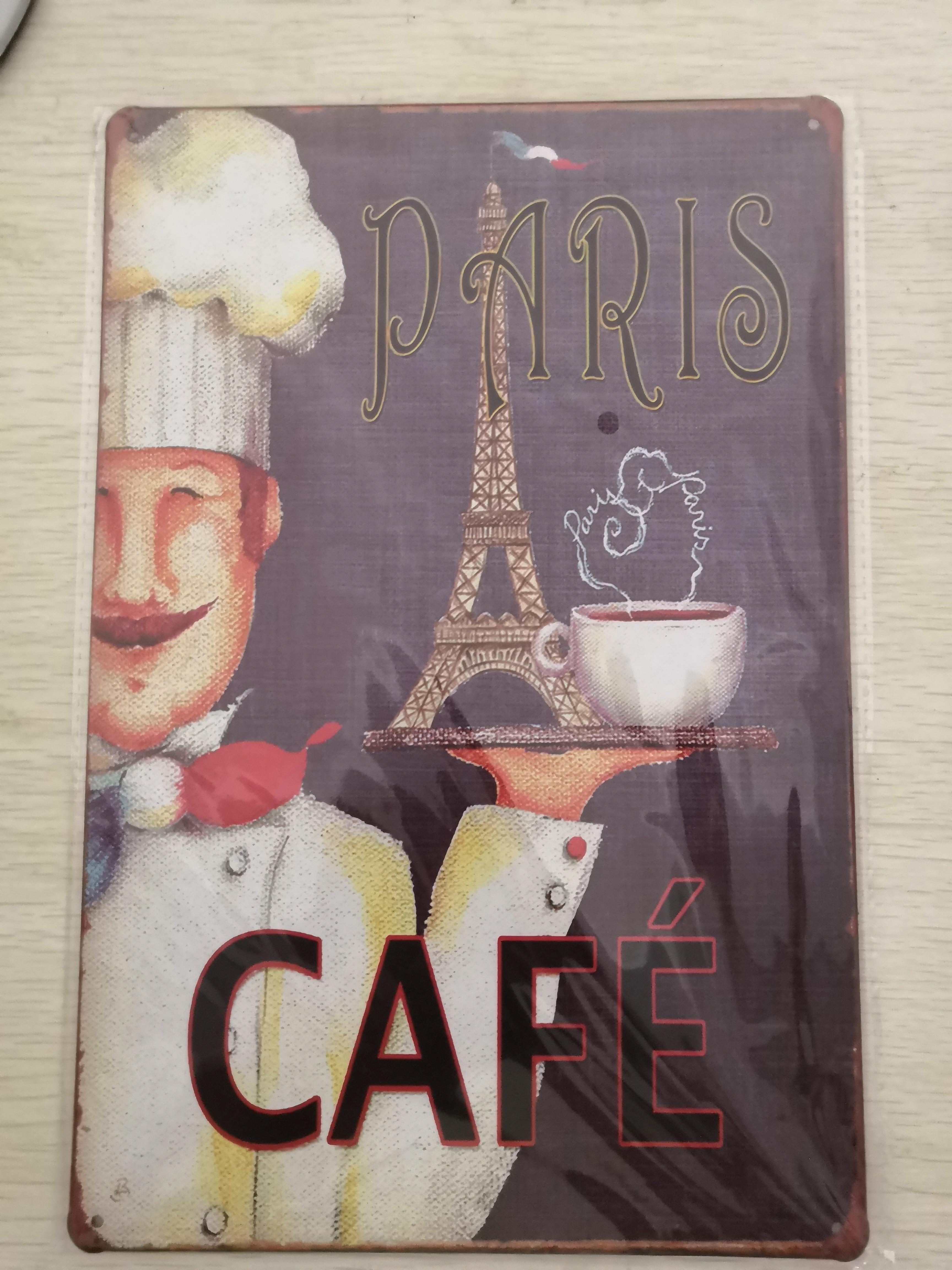 1 unidad café caliente París granos tienda café francés placas de estaño signo cartel de decoración de pared metal vintage retro shabby garage