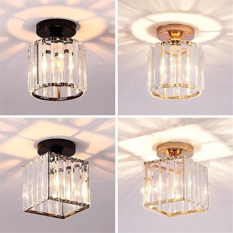 Luz de techo de cristal minimalista moderna de lujo, lámpara de techo E27 REDONDA/cuadrada creativa para pasillo, casa, guardarropa