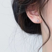2021 france new style design sun stud earring for women silver color cz crystal earring fine jewelry charm women wedding jewelry