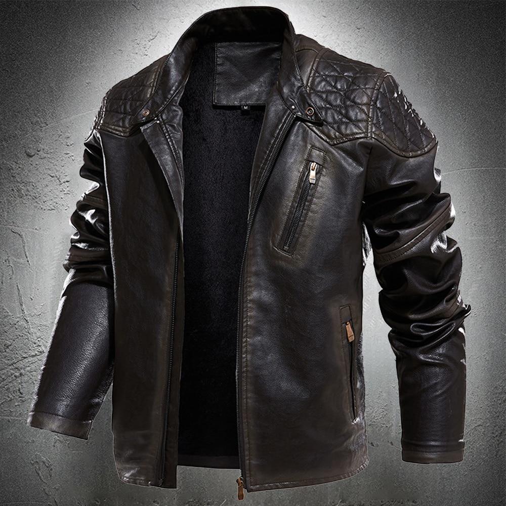 Spring Autumn Leather Jacket Men Vintage Style Motorcycle Jacket Stand Collar Biker Coat Men Retro Leather Coat Fashion Clothing