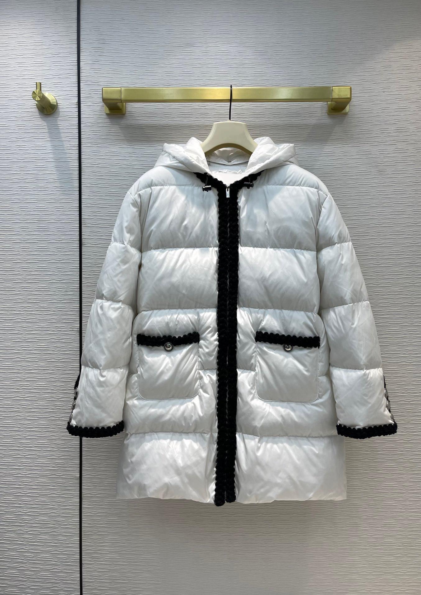 عالية الجودة المرأة انفصال مقنعين يندبروف الدفء التباين اللون سستة منتصف طول أسفل معطف