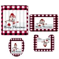 4pcs christmas decoration shower curtain and bath mat set bathroom decoration