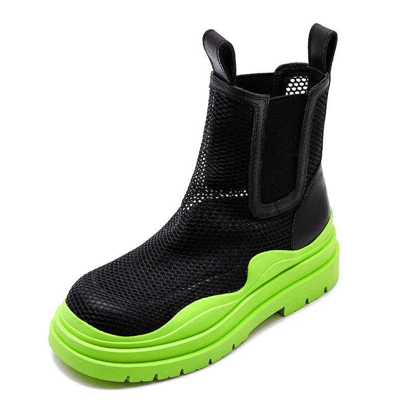 Mesh Hollow Mesh Boots Summer Thick-Heeled British Style Women's Short Boots Avocado Color Tide Platform Thick-Soled Smoke Boots