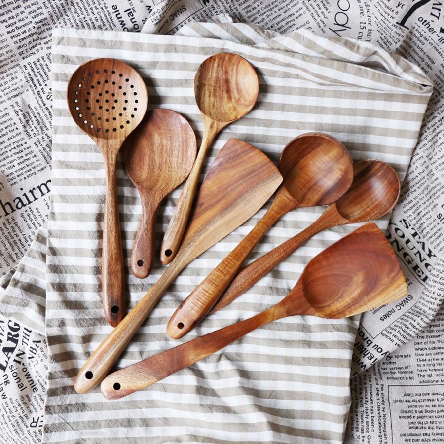 Cooking Tools Set Wood Tableware Spoon Ladle Turner Long Rice Colander Soup Skimmer Kitchenware Wooden Non-stick Spatula Shovel