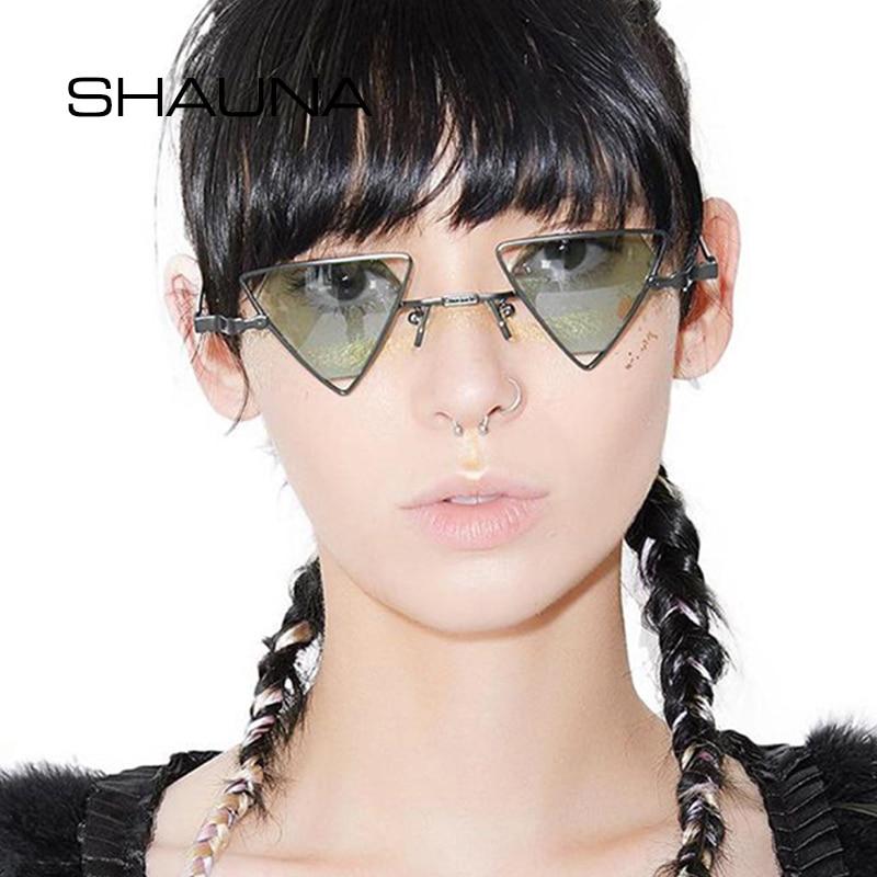 SHAUNA Vintage estilos Punk mujeres triangulares gafas de sol moda hombres ahuecan hacia fuera los tonos rojos de la lente UV400