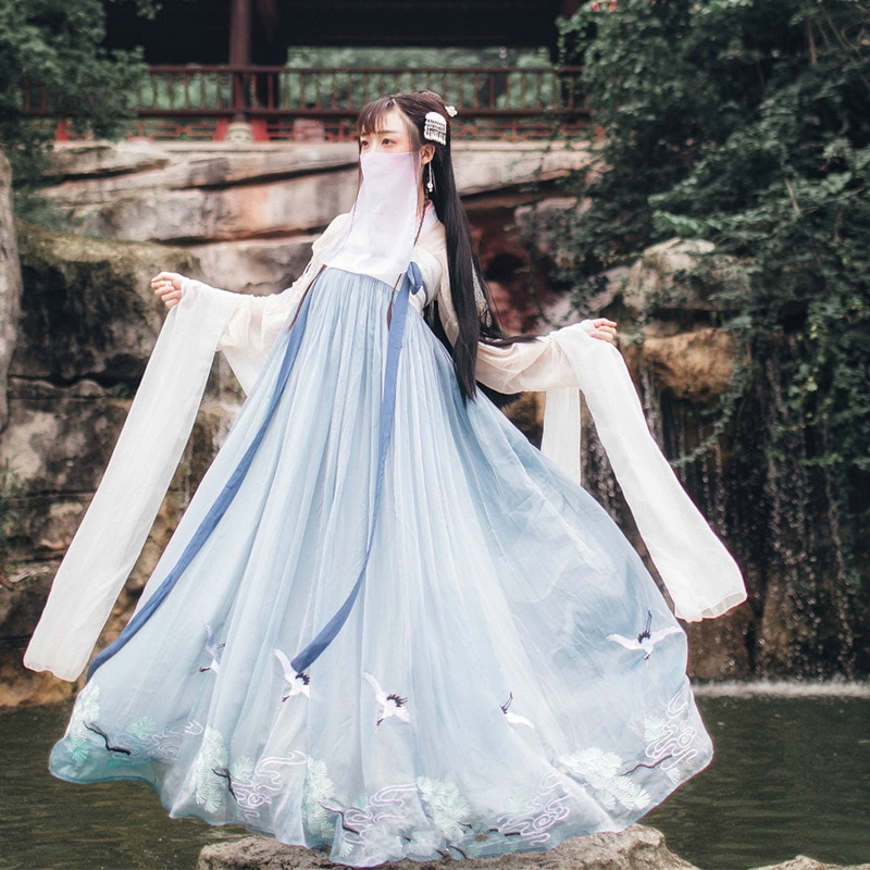 Китайский стиль Hanfu национальный стиль новый стиль для взрослых женщин Студенческая Фея весна и осень фото сценическая одежда