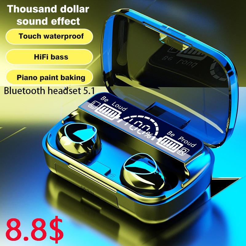 Tws fones de ouvido sem fio bluetooth v5.1 9d estéreo esporte fones à prova dpk água 2000mah caixa carregamento pk f9 m11