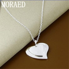 New 925 Sterling Silver Double Heart Small Pendant Necklace Women's Fashion Wedding Jewelry Gift