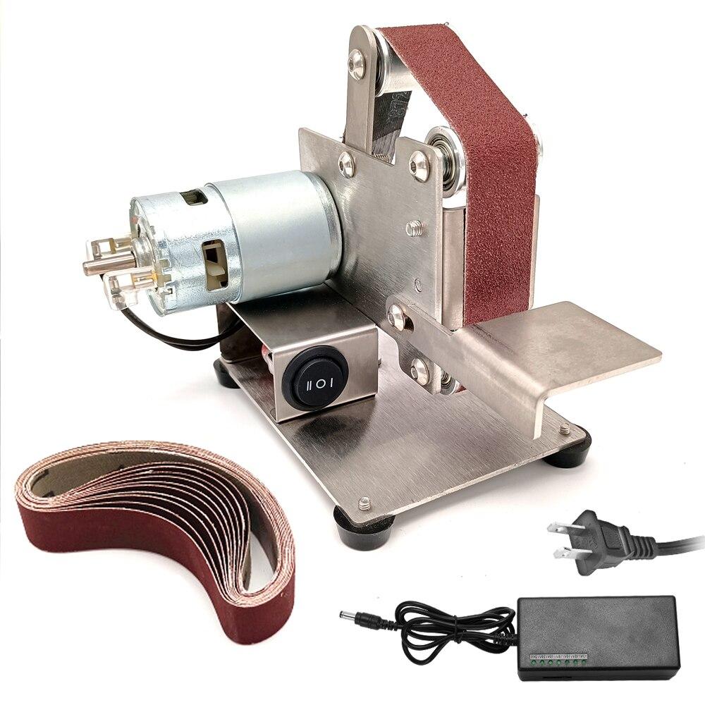 Lixadeira de Cinto Mini Elétrica Multifuncional Moedor Lixadeira Faça Você Mesmo Polimento Máquina Moagem Cortador Bordas Apontador 7 Engrenagens