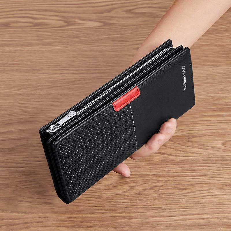 WILLIAMPOLO Men's Designer Bag Wallet Mens Long Leather Card Bag Large Zipper Wallet Business Clutch bag Black New