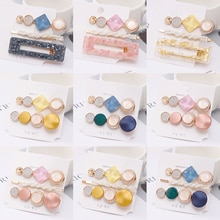 1Set Crystal Round Hair Clip Pearl Sweet Korean BB Hairpins Alloy Beautiful INS Style Flower Macaron