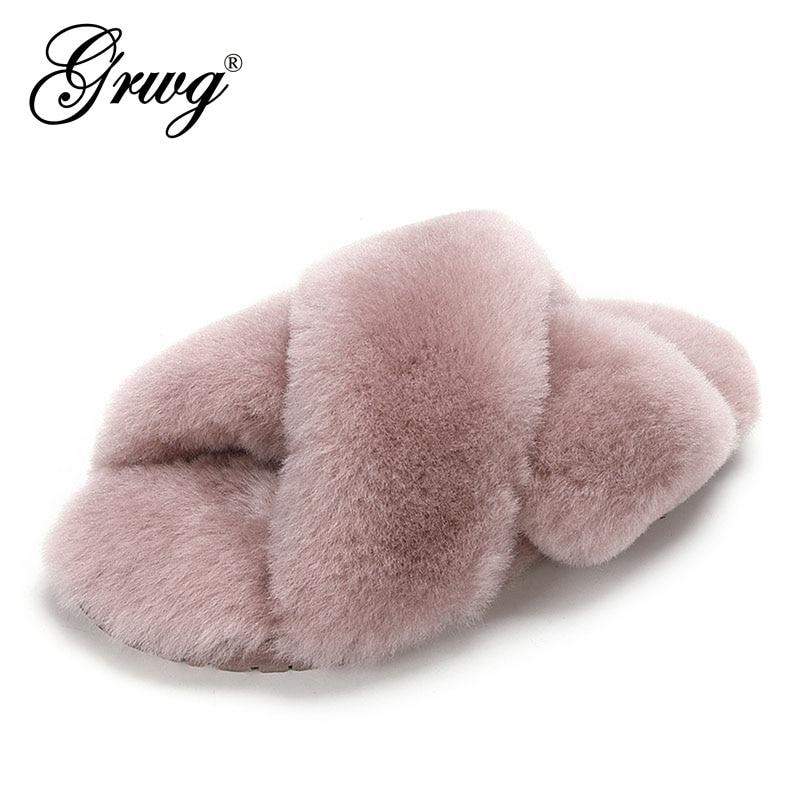 Chinelos de Pele Chinelos de Inverno Chinelos de lã Grwg Natural Carneiro Moda Feminina Feminino Quente Indoor Macia Senhora Casa Sapatos 100%