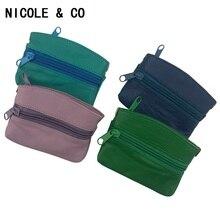NICOLE & CO nouveau porte-cartes Fishon femme en cuir classique porte-monnaie Mini portefeuille solide en cuir véritable fermeture éclair petit sac à main portefeuille